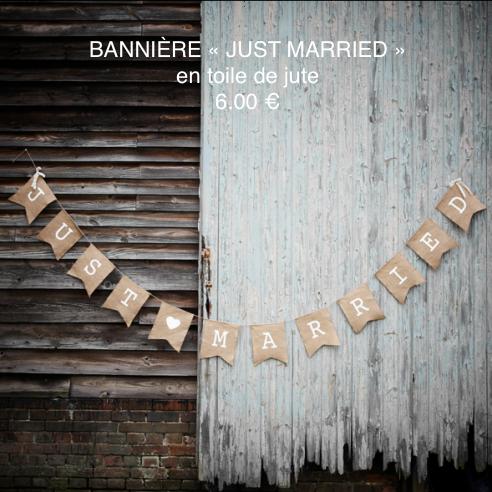 banière Just Married en toile de jute